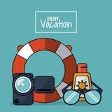五颜六色的海报享受与录影机和漂浮箍和玻璃和sunblock的假期 免版税库存照片