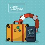 五颜六色的海报享受与行李和护照和漂浮箍的假期 库存照片
