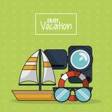 五颜六色的海报享受与风船录影机漂浮箍和玻璃的假期 库存图片