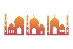 五颜六色的清真寺象伊斯兰教的传染媒介例证商标 库存例证