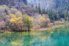 五颜六色的湖和forset在秋天在jiuzhai谷国家公园,中国 库存照片