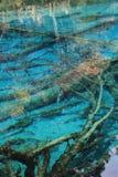 五颜六色的湖在九寨沟 图库摄影