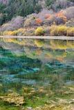 五颜六色的湖在Jiuzhaigou 库存照片