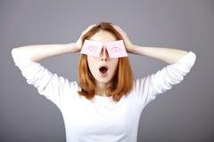 五颜六色的滑稽的女孩纵向贴纸 免版税库存图片
