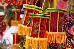 五颜六色的灯笼,市场,中间秋天节日 库存照片