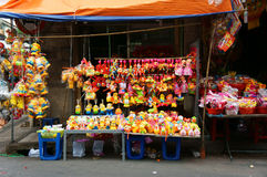 五颜六色的灯笼,市场,中间秋天节日 库存图片