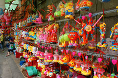 五颜六色的灯笼,市场,中间秋天节日 图库摄影