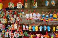五颜六色的灯笼,市场,中间秋天节日 免版税库存照片