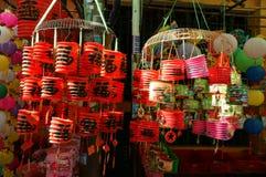 五颜六色的灯笼,市场,中间秋天节日 免版税图库摄影