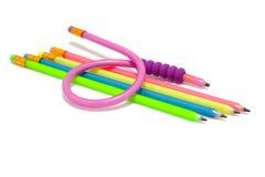 五颜六色的灵活的滑稽的铅笔 库存图片