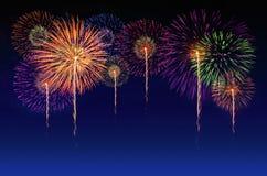 五颜六色的烟花庆祝 库存图片