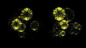 五颜六色的烟花晚上 壮观的firecrakers 3d回报 黄色版本53 股票录像