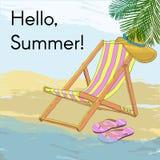 五颜六色的热带海滩图画海报 向量例证