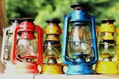 五颜六色的煤油灯 免版税库存照片