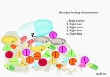 五颜六色的片剂和的胶囊 图库摄影