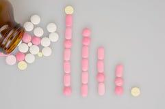 五颜六色的片剂安置作为长条图在白色背景 免版税库存图片