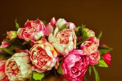 五颜六色的牡丹花束 库存照片