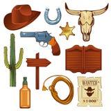 五颜六色的狂放的西部元素集 公牛头骨、牛仔帽、套索,瓶威士忌酒和其他 库存图片