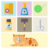 五颜六色的猫辅助逗人喜爱的传染媒介动物象宠爱设备食物 库存例证
