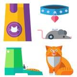 五颜六色的猫辅助逗人喜爱的传染媒介动物象宠爱设备 库存例证