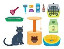 五颜六色的猫辅助逗人喜爱的传染媒介动物象宠爱设备食物国内似猫的例证 皇族释放例证