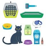 五颜六色的猫辅助逗人喜爱的传染媒介动物象宠爱设备食物国内似猫的例证 库存例证