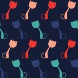五颜六色的猫,无缝的样式 图库摄影