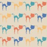 五颜六色的猫,无缝的样式 库存照片