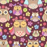 五颜六色的猫头鹰的无缝的样式 库存照片