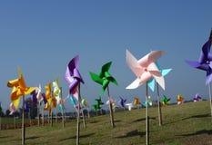 五颜六色的玩具风车 库存图片