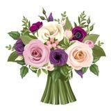 五颜六色的玫瑰和lisianthus花花束  也corel凹道例证向量 免版税库存照片