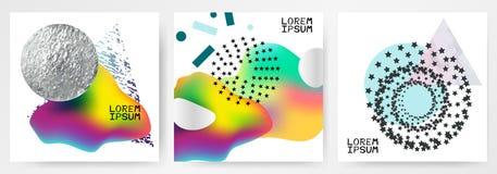 五颜六色的现代抽象海报,与梯度的卡片,色的流体,银色圈子,大理石三角 库存例证