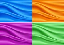 五颜六色的现代横幅丝绸集合 抽象传染媒介纹理 库存照片