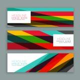 五颜六色的现代水平的倒栽跳水和横幅 免版税图库摄影