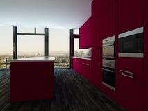 五颜六色的现代开放学制厨房和餐厅 图库摄影