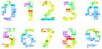五颜六色的现代方形的马赛克数字 图库摄影