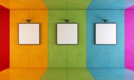 五颜六色的现代艺术画廊 库存照片