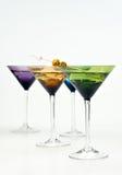 五颜六色的玻璃马蒂尼鸡尾酒 库存照片