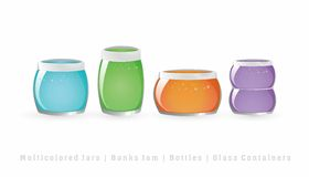 五颜六色的瓶子果酱 免版税库存图片