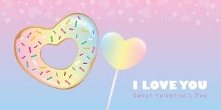 五颜六色的甜情人节糖果心形的多福饼和棒棒糖 皇族释放例证