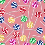 五颜六色的甜棒棒糖无缝的样式 库存图片