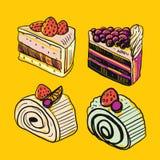 五颜六色的甜点蛋糕切片片断设置了传染媒介例证 皇族释放例证