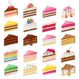 五颜六色的甜点蛋糕切片被设置的传染媒介例证 图库摄影