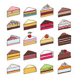 五颜六色的甜点蛋糕切片被设置的传染媒介 免版税库存图片
