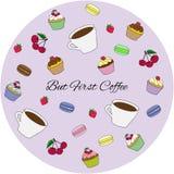 五颜六色的甜点蛋糕设置了例证 但是第一份咖啡 免版税库存照片