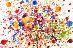 五颜六色的生动的水彩飞溅 库存照片