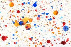 五颜六色的生动的水彩飞溅 库存图片