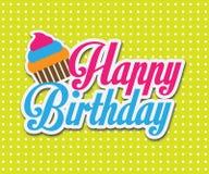 五颜六色的生日快乐卡片。传染媒介例证设计 免版税库存图片