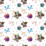 五颜六色的生日快乐无缝的样式 免版税库存图片