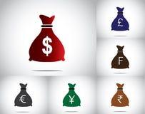 五颜六色的用不同的货币的金钱袋子集合收藏-美国美元,英镑磅,法郎,欧元,日元,卢比 图库摄影